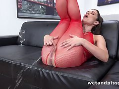 Horny lady in white-hot fishnet stuff Alyssa Reece goes crazy about masturbation