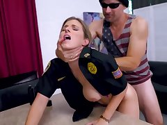 Light-Haired cop is getting plowed exotic someone's skin back while on duty and lovin' it a plenty of