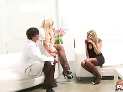 FFM trio with stunning pornstars Cindy Behr and Paige Ashley