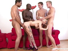 Prepare of horny dudes share a blonde woman encircling merciless ways