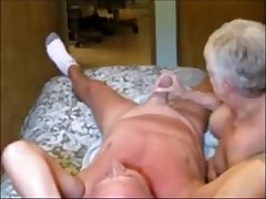 Elder wife making cum her hubby with hand