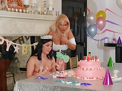 Amazing women share birthday pleasures fucking with toys