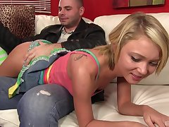 Hot babes Bianca Display with an increment of Dakota Skye moan during a 3-way