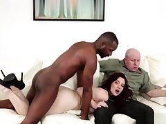 Hardcore interracial threesome cum