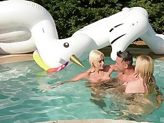 Amazing FFM threesome by the pool with Vittoria Dolce & Katy Jane