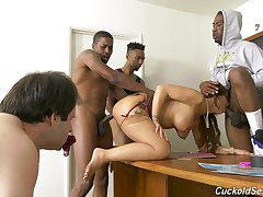 Naughty teacher Syren De Mer scores throbbing black cocks