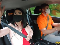 Quickie fucking in dramatize expunge car during drivers test for Lady Dee
