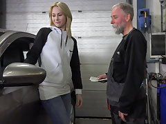 Frances takes sake of old goes young guy to sponge bag plum job