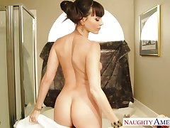 Fresh outside the shower smoking hot MILF Dana DeArmond is down to fuck