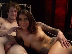 Handsome pornstar Ecstasy Feline loves being tied close by and used