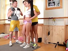 Busty Slovakian Evil one Drains two cocks at the Gym