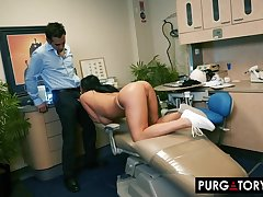 Smoking hot cloudy with big tits is having hardcore sex with her handsome dentist, in his post