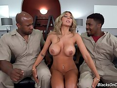Aroused blonde tries her first ever threesome interracial with two black delivery dudes