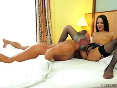 Teenie Lady With Stockings Rides Old Guys One-eyed Snake - Lyen Parker