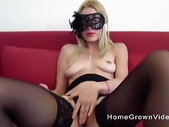 Masked blonde in stockings Vienna Black rides a hard big dick
