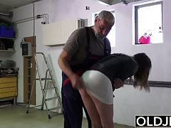 Old man fucks young girl his small cock fucks her mouth