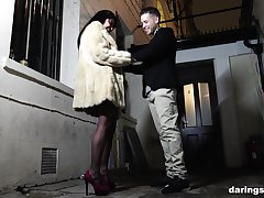 Mature brunette whore in stockings Mariska X takes dick and a cumshot