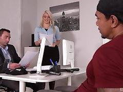 Laela Pryce enjoys a threesome with her hotshot and a stranger in the office