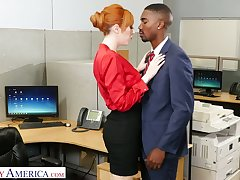 Eye catching milf Lauren Phillips seduces well endowed sulky co-worker