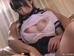 Aizawa Riina gets her pussy filled big dildo with an increment of friend's long fingers