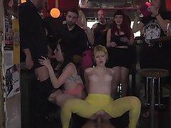 Four slaves fucking in public bar