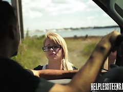 Extraordinary pervert be thrilled by mouth and pussy of sexy hitchhiker Lily Dixon and cums on her face