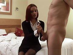 CFNM babe teases mans balls during handjob