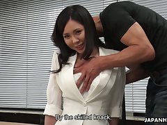 Hot Japanese babe with big tits always fucks her way connected with business deals