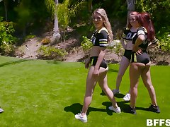 Foursome after a training is circa about Aria Carson and Abby Adams talking