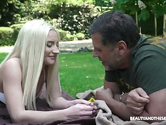Quite beautiful light haired Angela Vidal is fucked by older man on the lawn