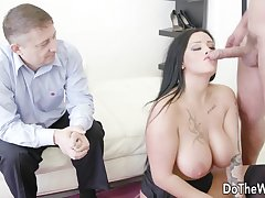 Lame Old Tighten one's belt Is Cuckolded wide of Prexy German Housewife Ashley CumStar