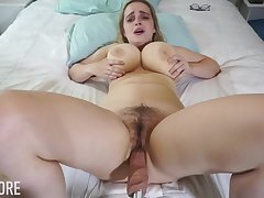 Huge-Boobed platinum-blonde girl, Codi Vore is opening prevalent her gams broad open while using a fuckin' machine