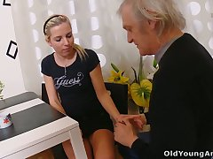 Naturally slim flaxen-haired bitch Nelya is seduced by fucked by older person