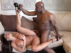 Black man's sperm fills her titties limitation a depraved interracial shag