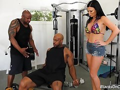 Two black jocks fuck anus and pussy of bosomy sallow milf Jasmine Jae