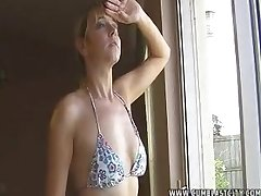 Amateur video of wife Taylor Shaw on her knees milking a dick
