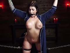 Rough torture session for tied just about pornstar Ivy Lebelle and she loves it
