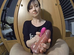 Maya in Vibrating His Cock Added to 2 Cumshots - MayasHandjobsVR