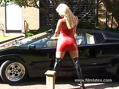 Wound up with the addition of sexy blonde latex beauty loves nearly expose her ass