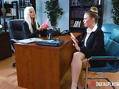 Office bitches finds it more than intriguing in the air fuck and simulation nude