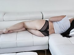 Hot stepmom taking dirty and toying her wet and ambrosial pussy
