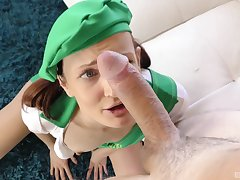 Guy gives cute Girl Scout Zoe Sparx a milk mustache after hot coition